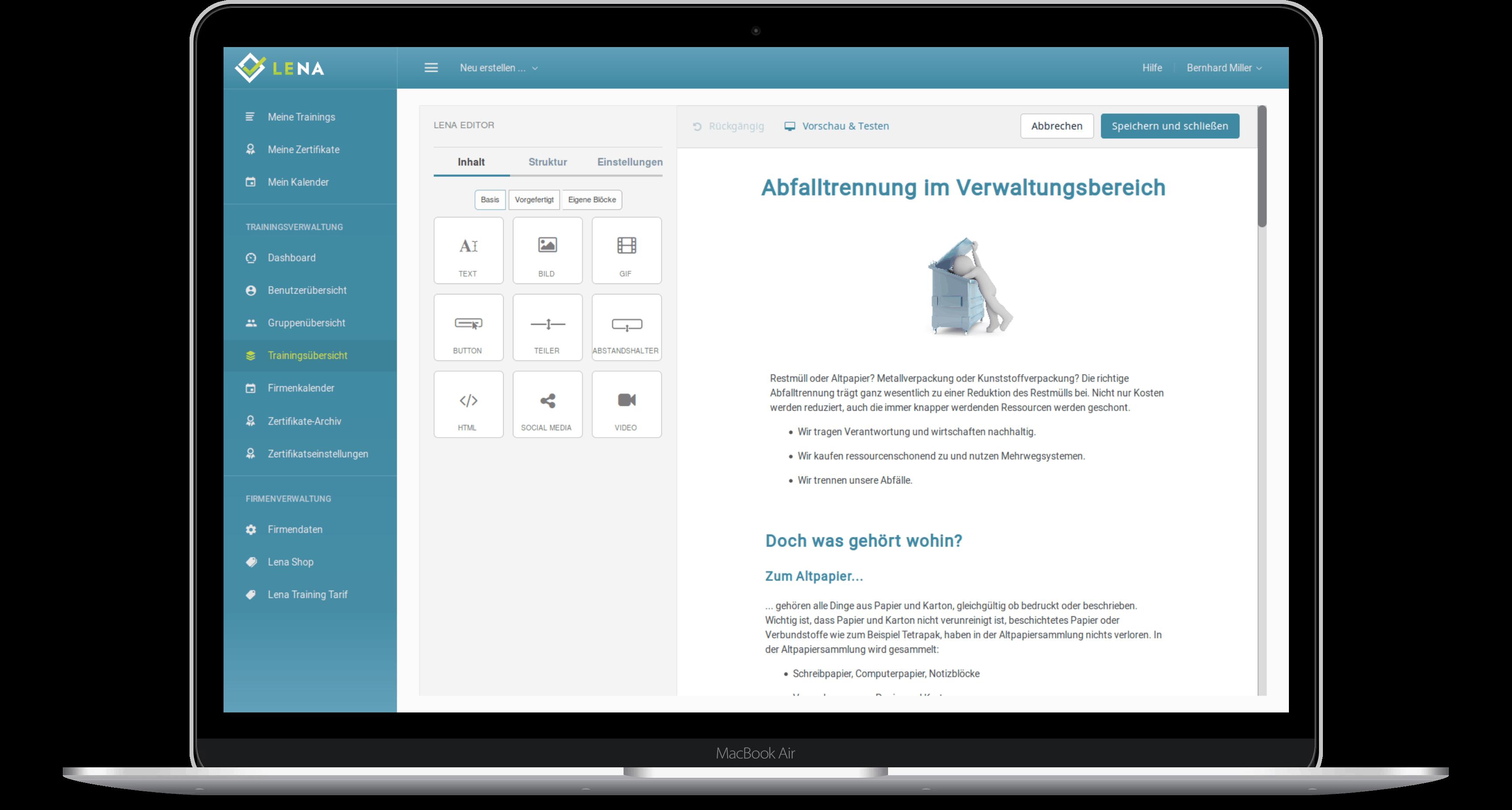 Screenshot: Erstellung einer neuen Schulung im Editor der Schulungssoftware