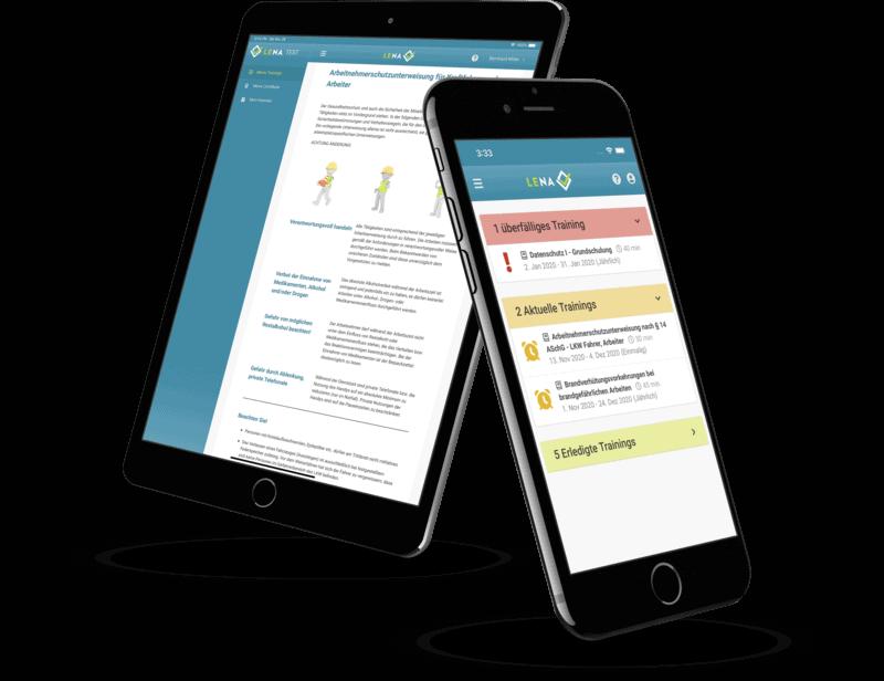 Die LENA Schulungssoftware auf zwei mobilen Geräten.