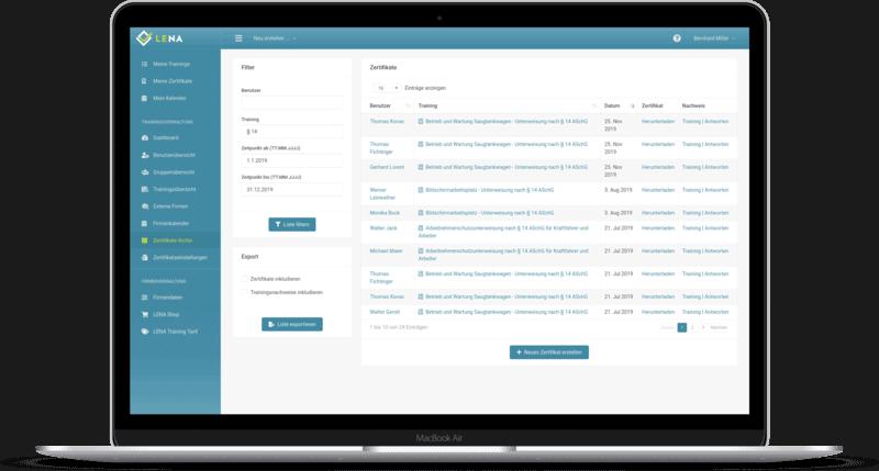 Screenshot: Export-Schnittstelle der Unterweisungssoftware für Zertifikate und Trainingsnachweise
