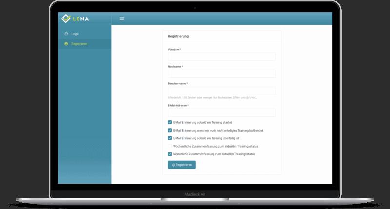 Screenshot: Selbstständige Registrierung einer Person bei LENA Training