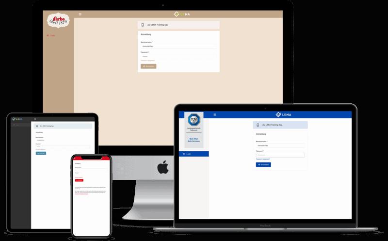 Screenshots: Die Unterweisungssoftware in verschiedenen Designs auf verschiedenen Endgeräten.