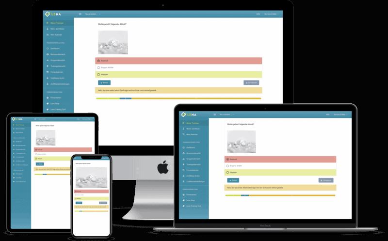 Die Lernumgebung der Online-Software auf verschiedenen Geräten (Desktop, Notebook, Tablet, Smartphone)