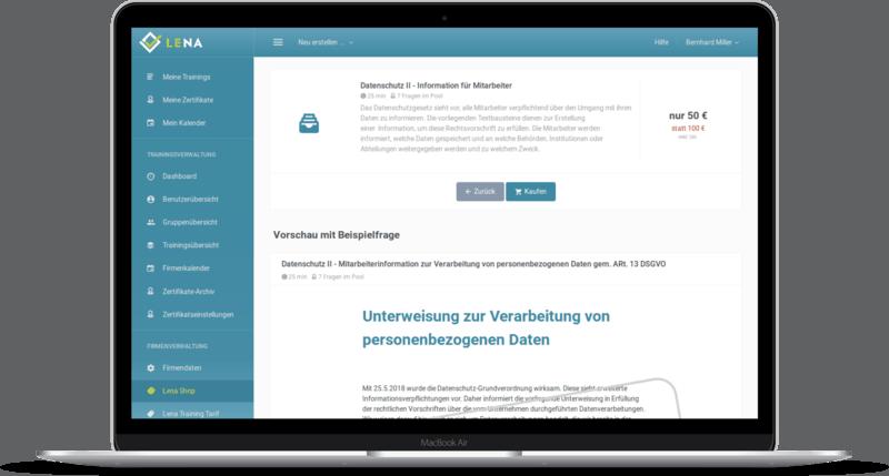 Screenshot: Vorlagen für Schulungen und Unterweisungen im Webshop zukaufen