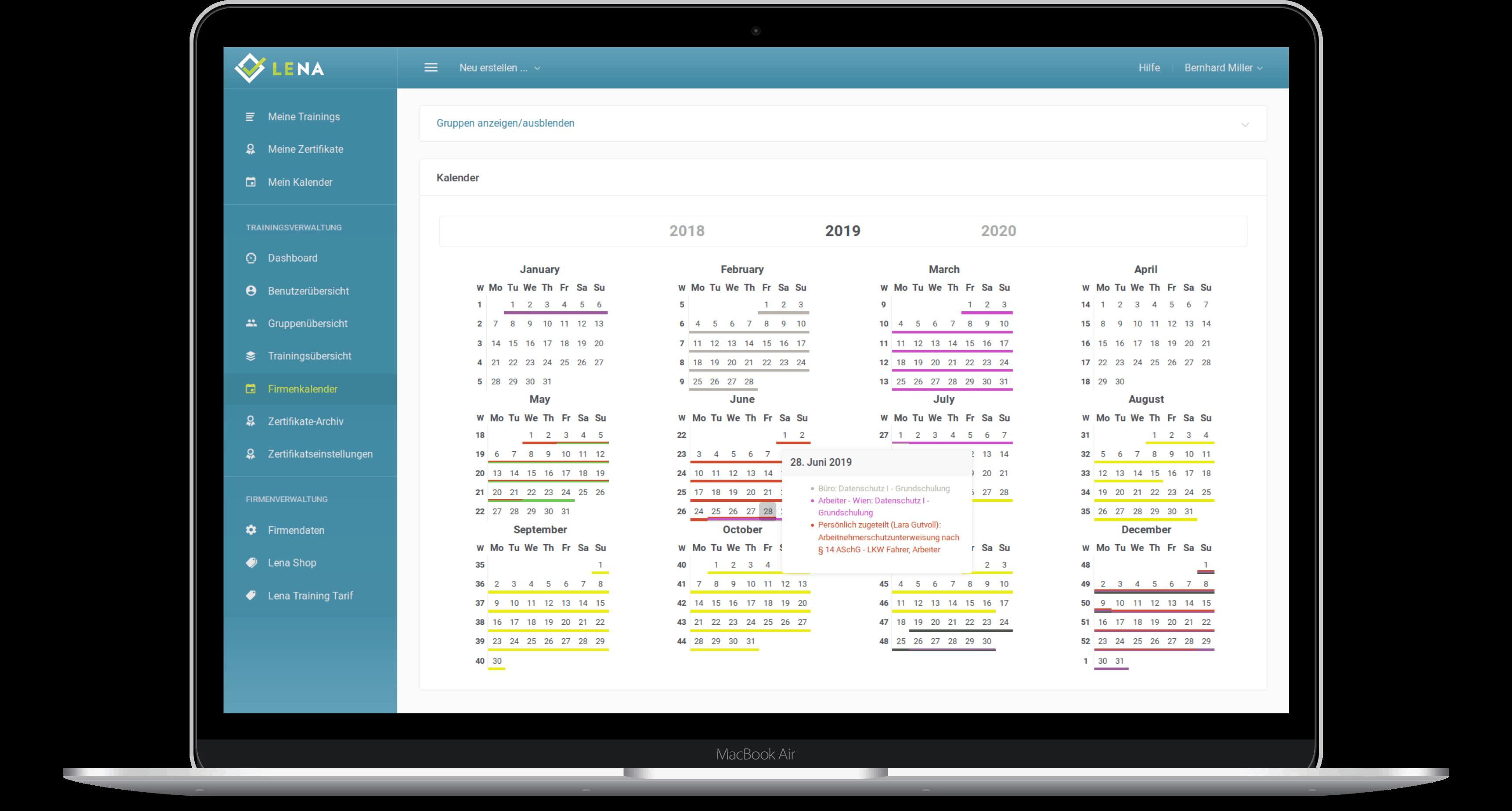 Screenshot: Ein Jahreskalender, der den Zeitpunkt der Schulungen übersichtlich darstellt